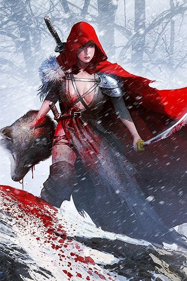 Beautiful Little Girl Wallpapers Wallpaper Red Cloak Girl Warrior To Kill A Wolf 1920x1080