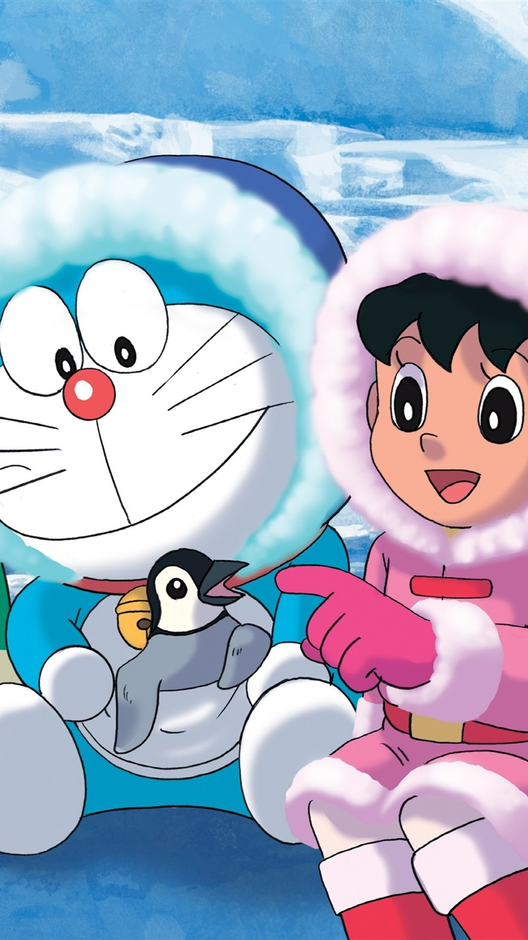 Primitive Girl Wallpaper Wallpaper Doraemon Antarctica Cold Snow Penguins