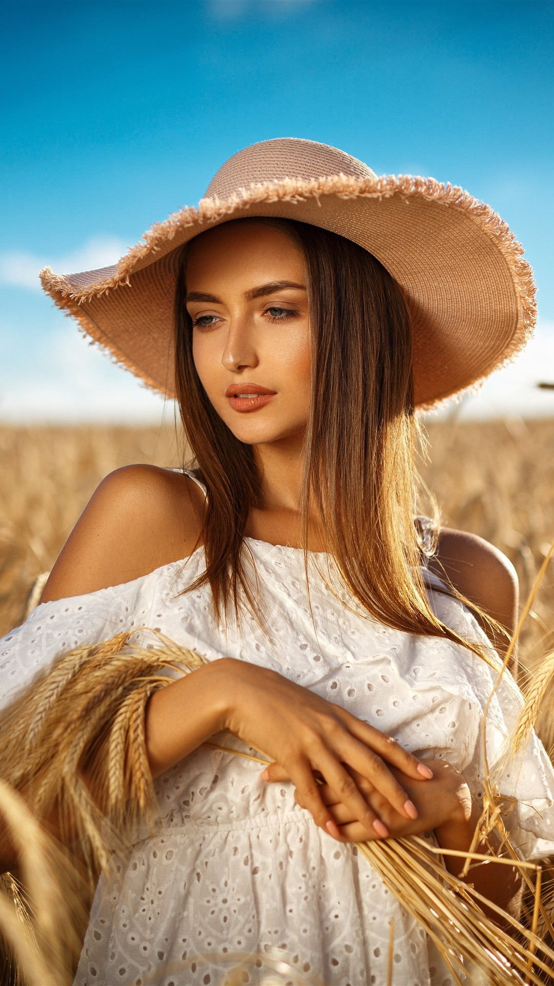 Piano Wallpaper Iphone Brown Hair Girl Hat Wheat Field Summer 1242x2688 Iphone