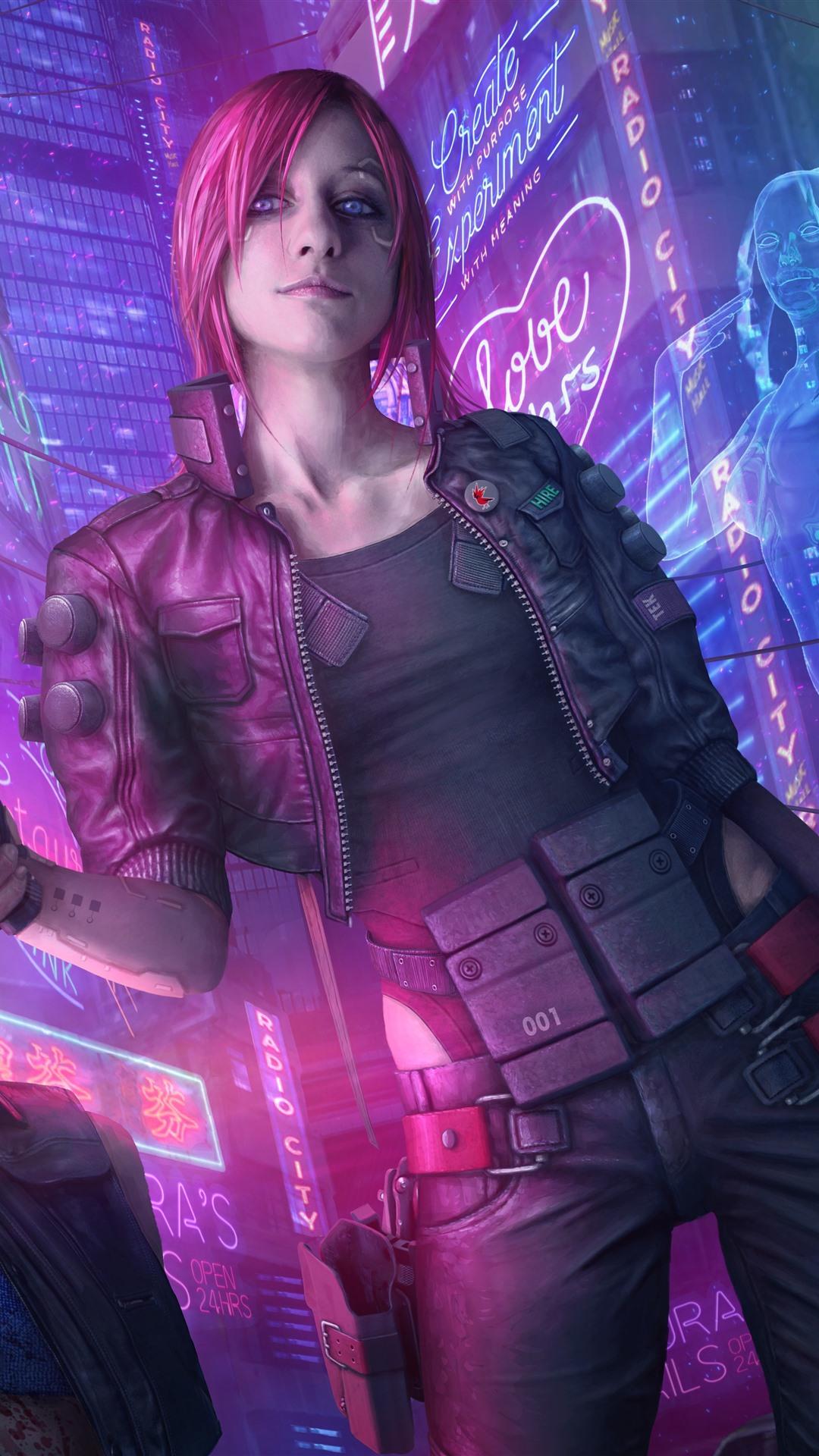 Iphone 4s Car Wallpaper Wallpaper Cyberpunk 2077 Pink Hair Girl Gun City