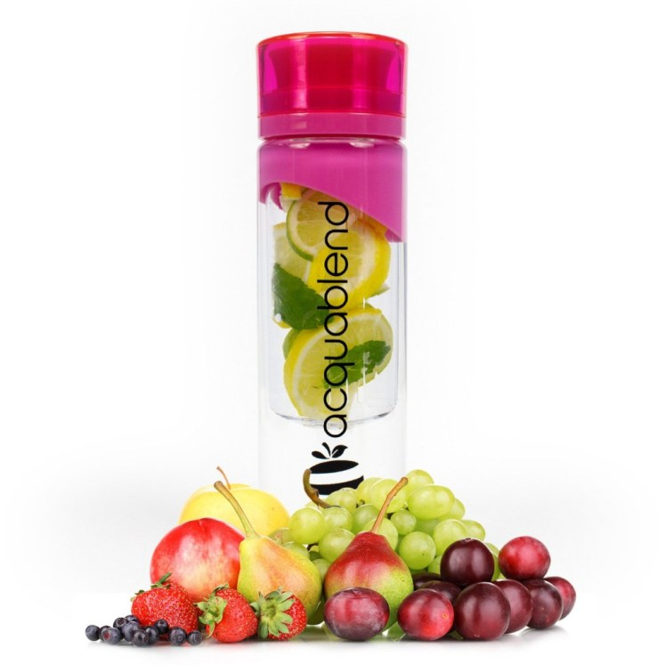 Acquablend Premium with fruits at the base, this bottle, that is the best reusable bottle, and it looks very refreshing