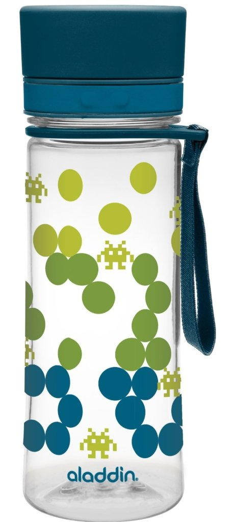 Eddy water bottle for kdis, the bottle has blue, green and yellow dots. This bottle is the best water bottle for kids.