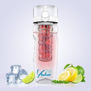 The Yaku water bottle with ice cubes and fruits