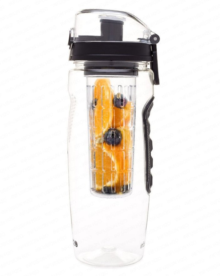 The fruit infuser water bottle standing on a white background.