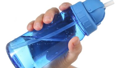 a hand holding around the second places bottle in our best water bottle with straw award