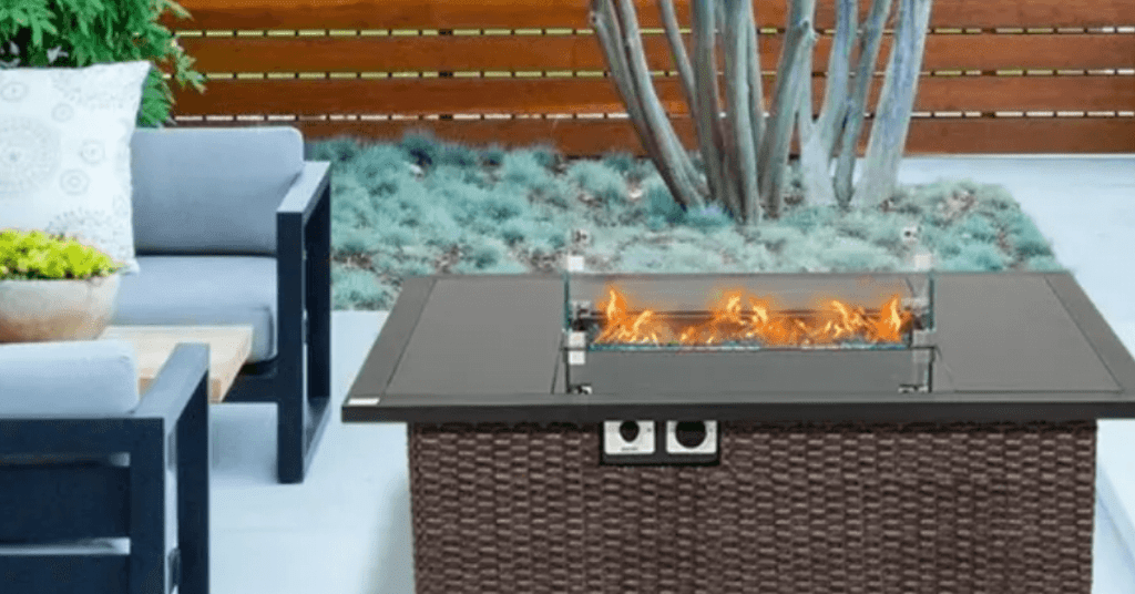 rectangular wicker propane fire pit table review