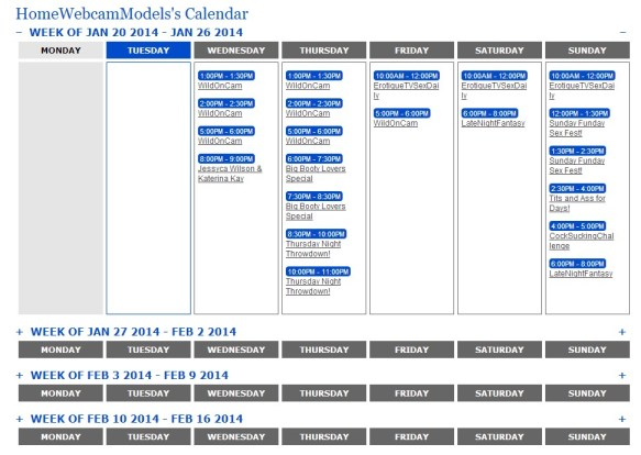 The webcam models calendar keeps you up-to-date on special shows which are typically porn stars on live cams and sometimes other popular adult cam stars.