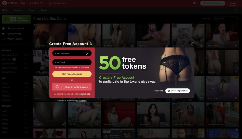 free tokens stripchat