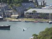 A boat heading towards the restaurants