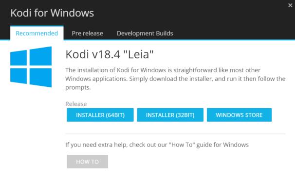 Choose Kodi Installer (64-bit) or Kodi Installer (32-bit)