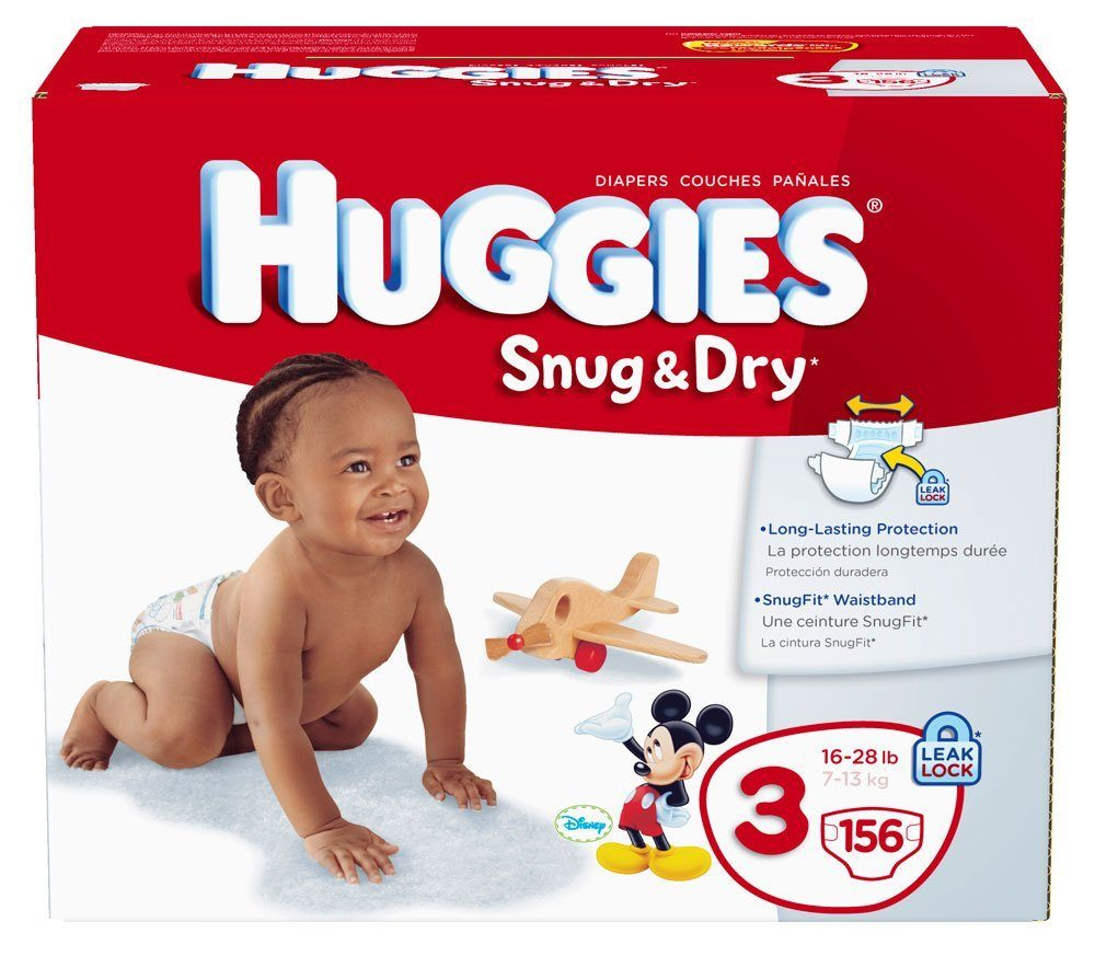 Huggies Snug & Dry Diapers, Size 3, Giant Pack, 156 Count