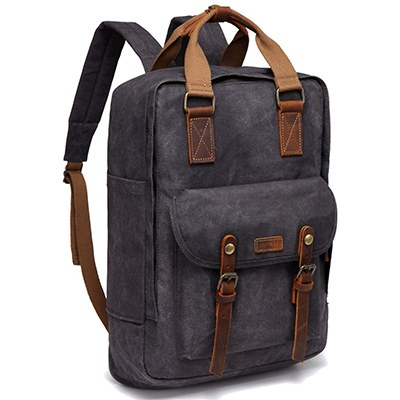 Vaschy Vintage Waxed Canvas Anti-Theft Backpack 8c36c6322a561