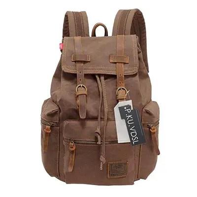 P.K.U.VDSL - AUGUR SERIES Vintage Canvas Leather Backpack