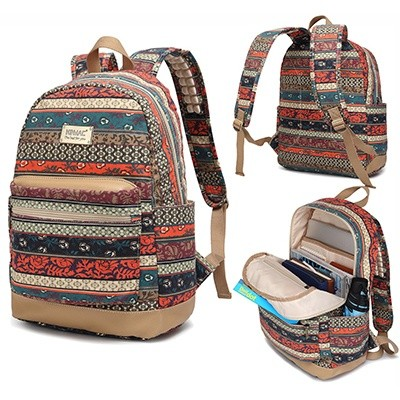 Kinmac Bohemian Water Resistant Laptop Backpack With Massage Cushion Straps