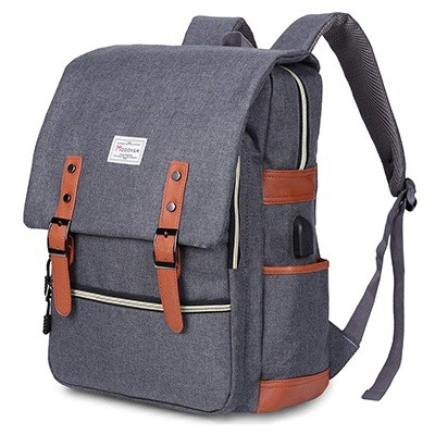 Modoker Vintage Laptop Backpack With USB Charging Port