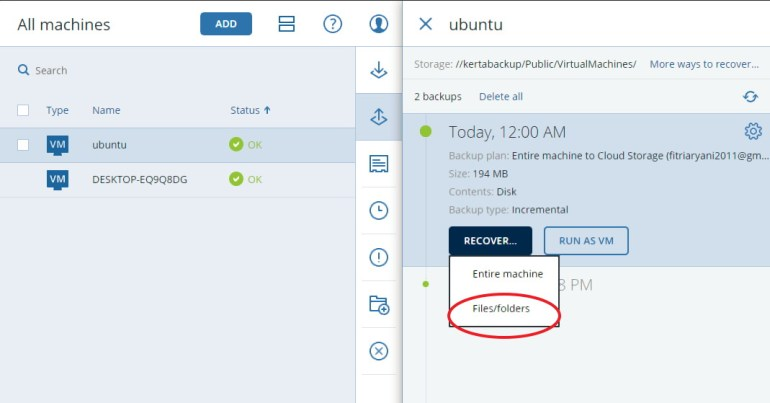restore acronis backup to Linux Server