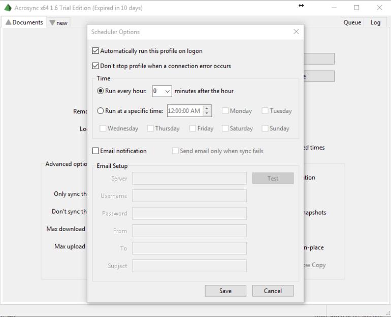 backup windows using acrosync