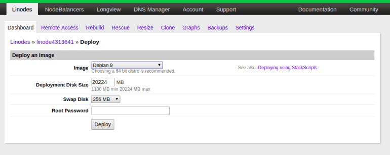 create new cloud server instance on linode