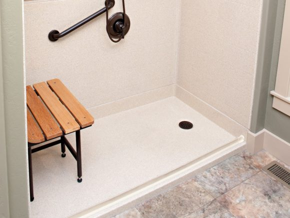 curbless shower pan on concrete