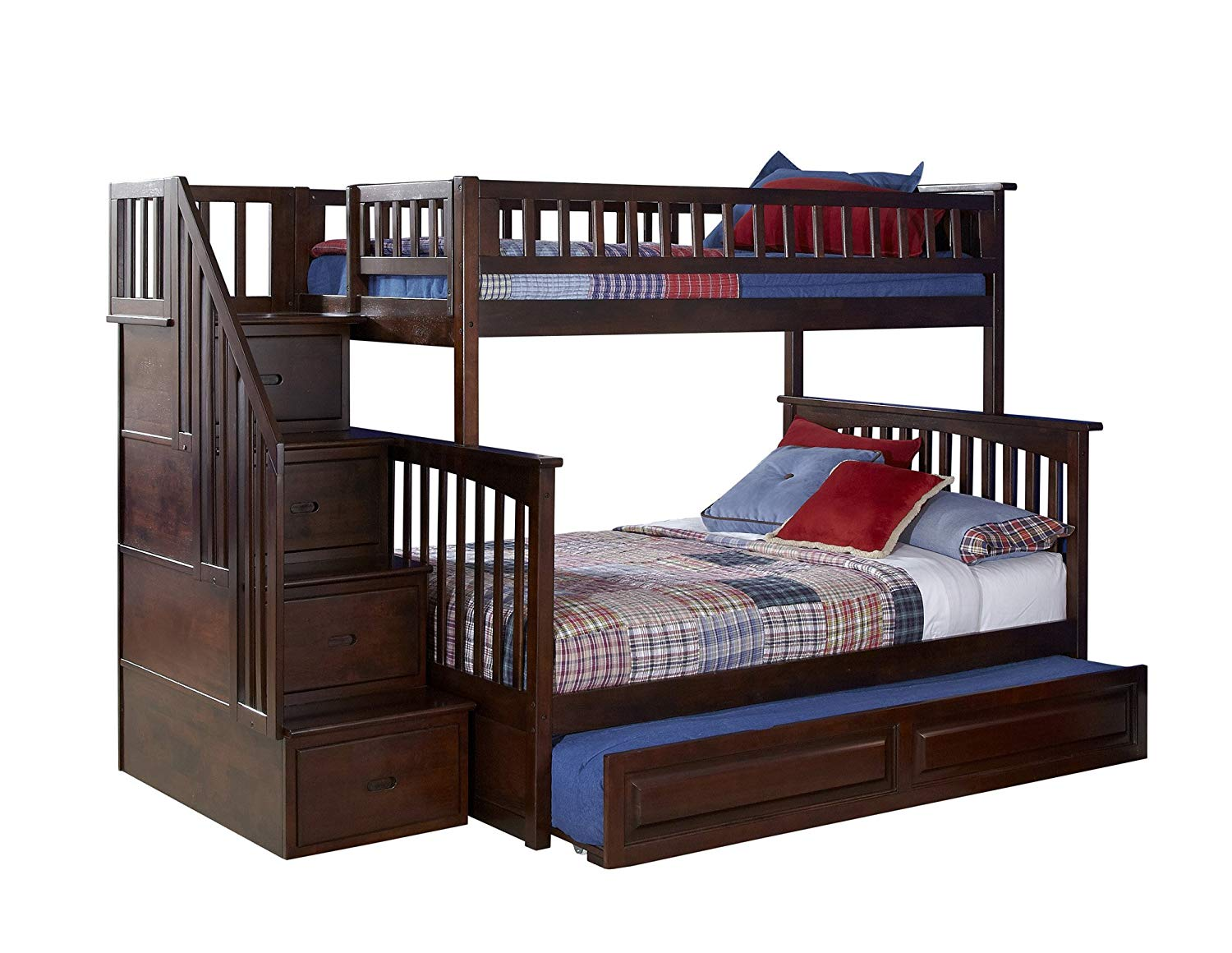 Twin Over Full Bunk Bed With Stairs And Drawers Novocom Top