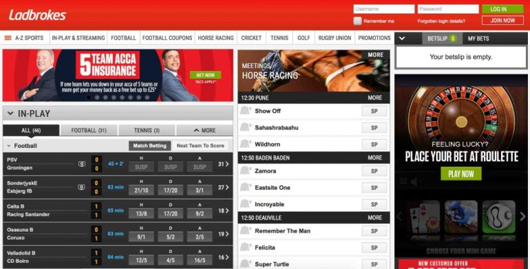 Ladbrokes Sportbook User Interface