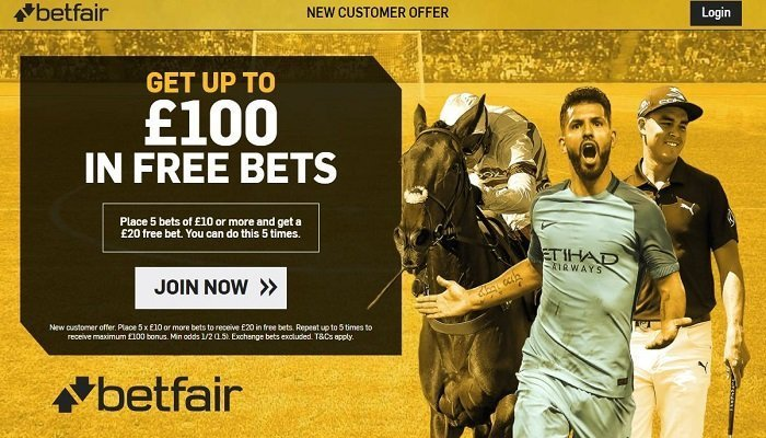 £100 in free bets at Betfair