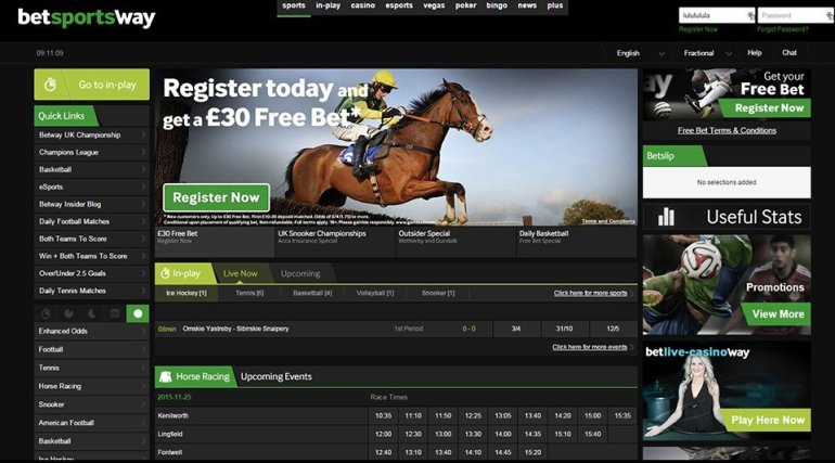 Betway online sports book user interface
