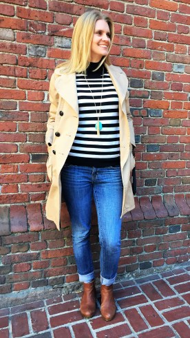 Reloved: Marc Jacobs trench, Apt. 9 sweater, Lucky Brand booties, statement necklace