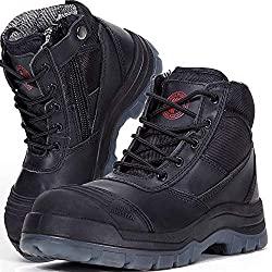 ROCKROOSTER Mens Work Boots, Steel Toe, YKK Zipper