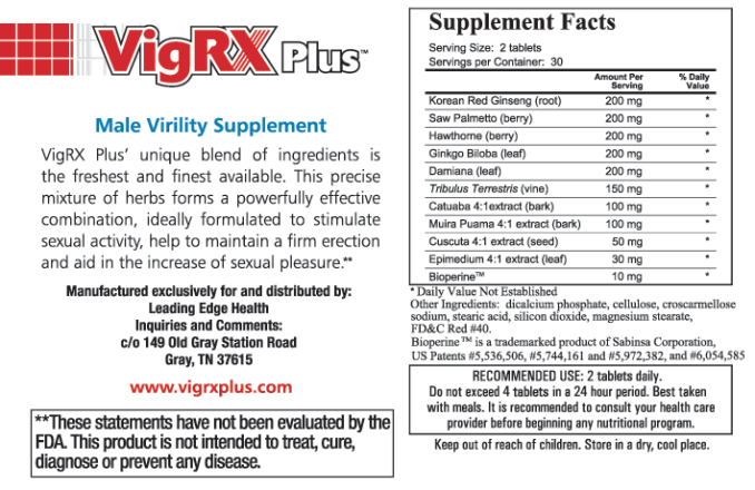 VigRX Plus Supplement Facts