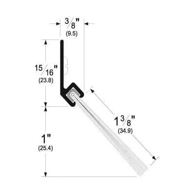 Pemko 45137_NB Brush Seal/45 Degree Aluminum Retainer