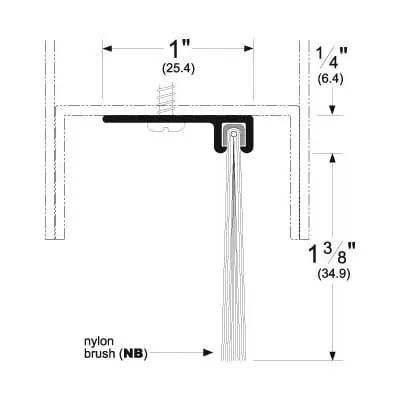 Pemko 90137_NB Brush Seal/90 Degree Aluminum Retainer