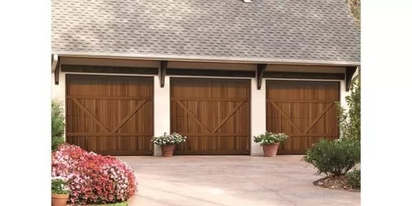 Garage doors crafted of real wood