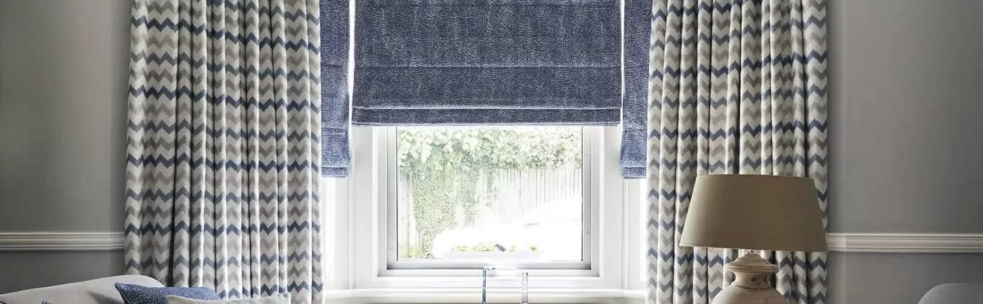 romanblinds curtains cushions CALISTA COLBALT MIAMI BLUE Large