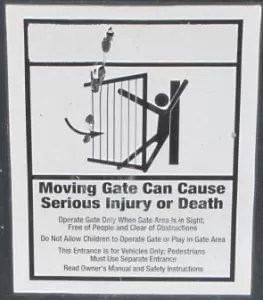 Moving gate can cause injury