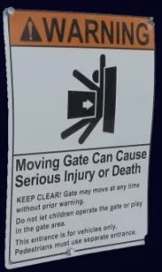 gate warning sign