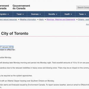 加拿大环境部特别天气预报