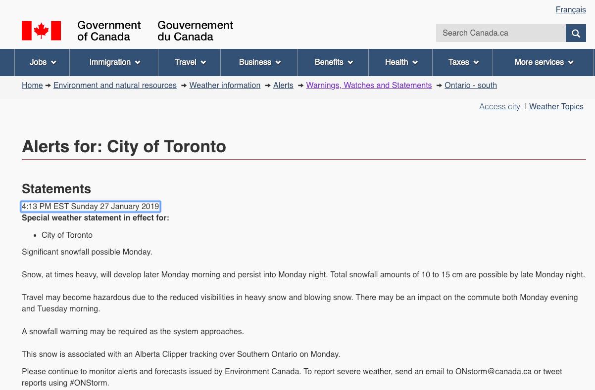 加拿大环境部特别天气预报 1