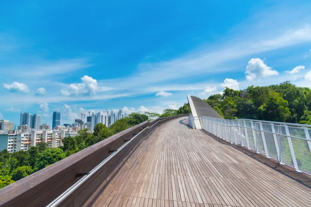 Computer drawn sample of an accessible ramp with railing, leading to a look-out point over a forest, with a city in the back ground and a bright, blue sky