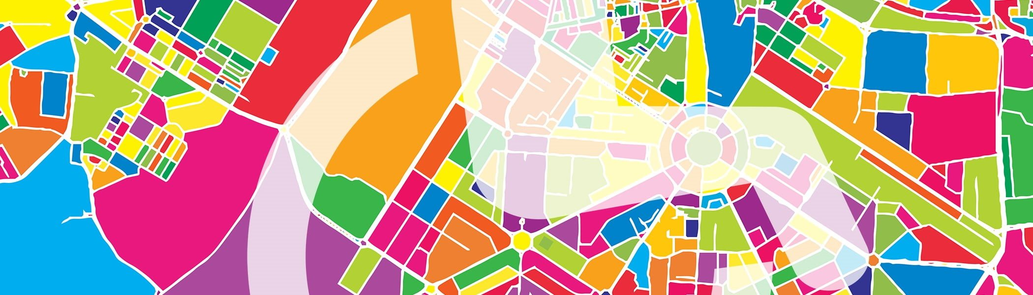 New Delhi aerial map view in colorful colors