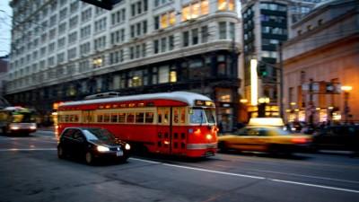 Bus on a city street
