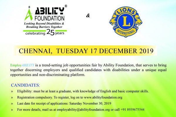 Ability Foundation Announces EmployABILITY 2019 Job Fair for Persons with Disabilities