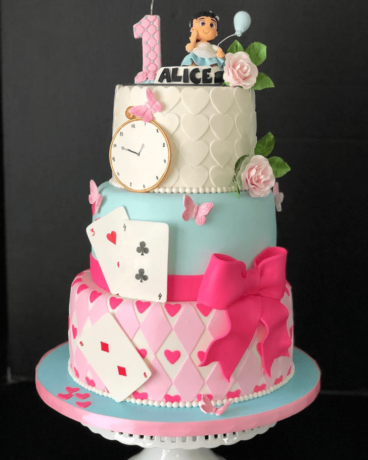 Delicate Alice in Wonderland Cake