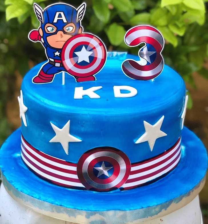 Admirable Captain America Cake Design