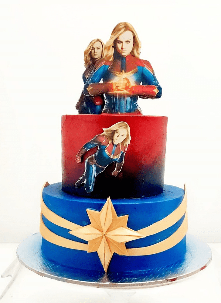 Dazzling Captain Marvel Cake
