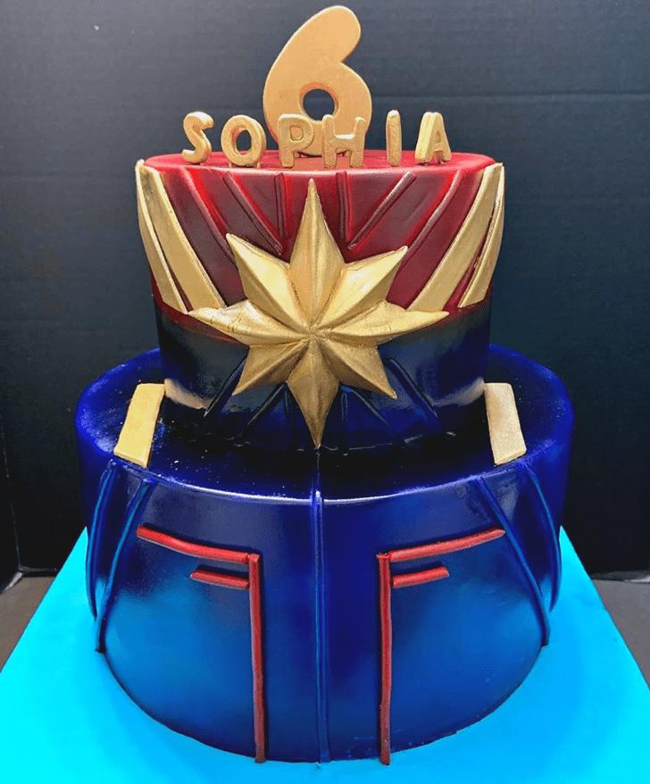 Delicate Marvele Captain Marvel Cake