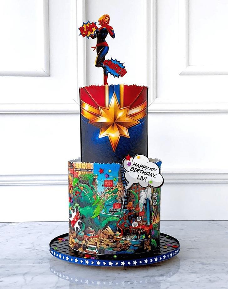Magnetic Captain Marvel Cake