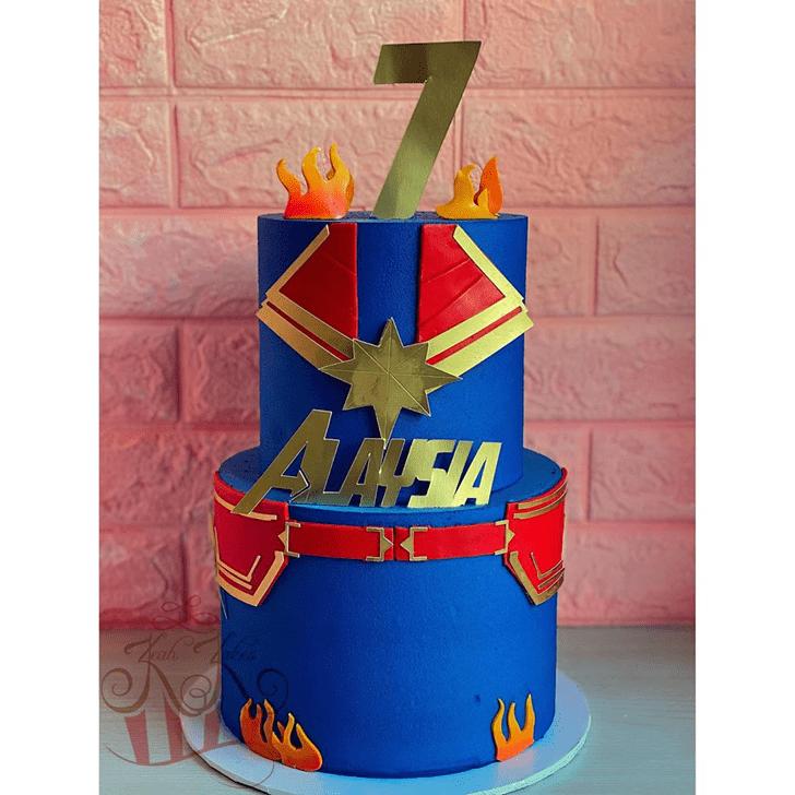 Pleasing Captain Marvel Cake
