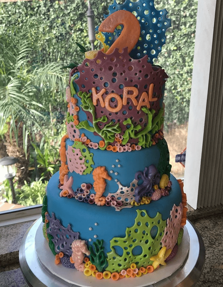 Adorable Coral Cake