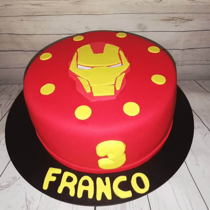 Iron Man Mask Cake with Red Background and Yellow Dots